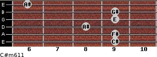 C#m6/11 for guitar on frets 9, 9, 8, 9, 9, 6