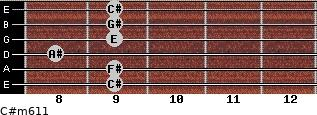 C#m6/11 for guitar on frets 9, 9, 8, 9, 9, 9