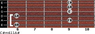 C#m6/11/A# for guitar on frets 6, 9, 6, 9, 9, 9