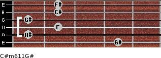 C#m6/11/G# for guitar on frets 4, 1, 2, 1, 2, 2
