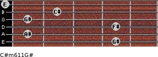 C#m6/11/G# for guitar on frets 4, 1, 4, 1, 2, 0
