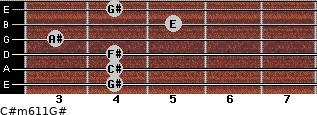 C#m6/11/G# for guitar on frets 4, 4, 4, 3, 5, 4