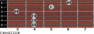 C#m6/11/G# for guitar on frets 4, 4, 4, 3, 5, 6