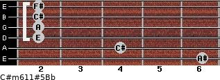 C#m6/11#5/Bb for guitar on frets 6, 4, 2, 2, 2, 2