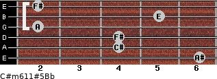 C#m6/11#5/Bb for guitar on frets 6, 4, 4, 2, 5, 2