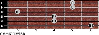 C#m6/11#5/Bb for guitar on frets 6, 4, 4, 2, 5, 5