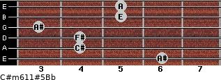 C#m6/11#5/Bb for guitar on frets 6, 4, 4, 3, 5, 5