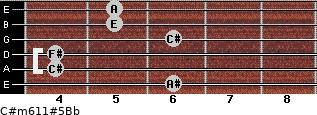 C#m6/11#5/Bb for guitar on frets 6, 4, 4, 6, 5, 5