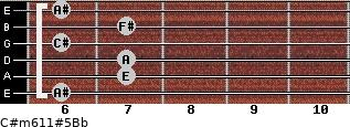 C#m6/11#5/Bb for guitar on frets 6, 7, 7, 6, 7, 6