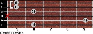 C#m6/11#5/Bb for guitar on frets 6, 9, x, 6, 5, 5