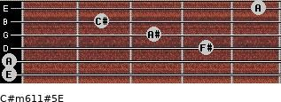 C#m6/11#5/E for guitar on frets 0, 0, 4, 3, 2, 5