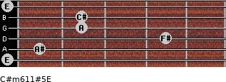 C#m6/11#5/E for guitar on frets 0, 1, 4, 2, 2, 0
