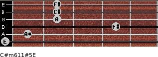 C#m6/11#5/E for guitar on frets 0, 1, 4, 2, 2, 2