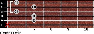 C#m6/11#5/E for guitar on frets x, 7, 7, 6, 7, 6