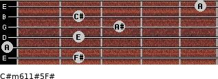 C#m6/11#5/F# for guitar on frets 2, 0, 2, 3, 2, 5