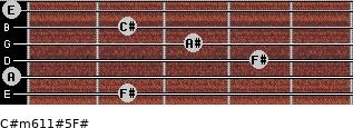 C#m6/11#5/F# for guitar on frets 2, 0, 4, 3, 2, 0