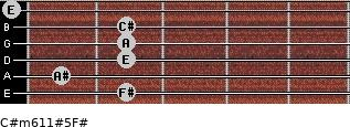 C#m6/11#5/F# for guitar on frets 2, 1, 2, 2, 2, 0