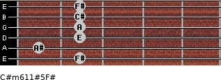 C#m6/11#5/F# for guitar on frets 2, 1, 2, 2, 2, 2