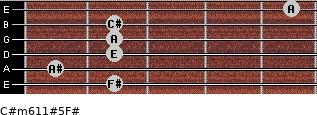 C#m6/11#5/F# for guitar on frets 2, 1, 2, 2, 2, 5
