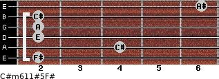 C#m6/11#5/F# for guitar on frets 2, 4, 2, 2, 2, 6