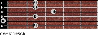 C#m6/11#5/Gb for guitar on frets 2, 0, 2, 3, 2, 2