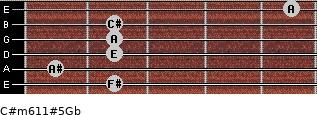 C#m6/11#5/Gb for guitar on frets 2, 1, 2, 2, 2, 5