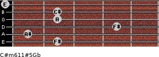 C#m6/11#5/Gb for guitar on frets 2, 1, 4, 2, 2, 0