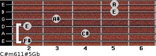 C#m6/11#5/Gb for guitar on frets 2, 4, 2, 3, 5, 5
