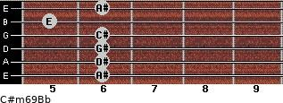 C#m6/9/Bb for guitar on frets 6, 6, 6, 6, 5, 6