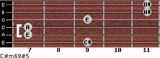 C#m6/9#5 for guitar on frets 9, 7, 7, 9, 11, 11