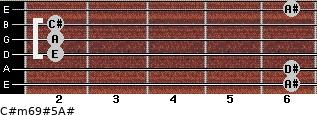 C#m6/9#5/A# for guitar on frets 6, 6, 2, 2, 2, 6