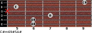 C#m6/9#5/A# for guitar on frets 6, 6, 7, x, 5, 9