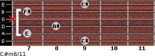 C#m6/11 for guitar on frets 9, 7, 8, x, 7, 9