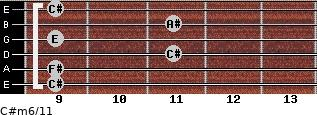 C#m6/11 for guitar on frets 9, 9, 11, 9, 11, 9