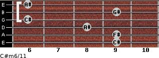 C#m6/11 for guitar on frets 9, 9, 8, 6, 9, 6