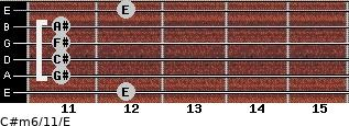 C#m6/11/E for guitar on frets 12, 11, 11, 11, 11, 12