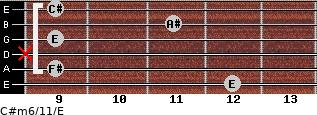C#m6/11/E for guitar on frets 12, 9, x, 9, 11, 9