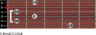 C#m6/11/G# for guitar on frets 4, 1, 2, 1, x, 2
