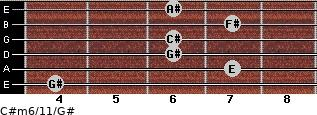 C#m6/11/G# for guitar on frets 4, 7, 6, 6, 7, 6