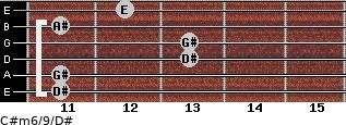 C#m6/9/D# for guitar on frets 11, 11, 13, 13, 11, 12