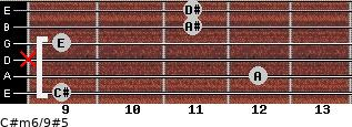 C#m6/9#5 for guitar on frets 9, 12, x, 9, 11, 11