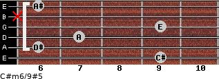 C#m6/9#5 for guitar on frets 9, 6, 7, 9, x, 6