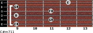 C#m7/11 for guitar on frets 9, 11, 9, 11, 9, 12
