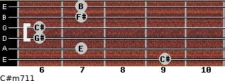 C#m7/11 for guitar on frets 9, 7, 6, 6, 7, 7