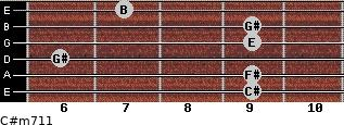 C#m7/11 for guitar on frets 9, 9, 6, 9, 9, 7