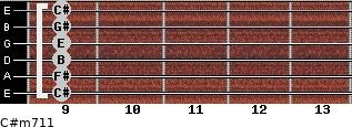C#m7/11 for guitar on frets 9, 9, 9, 9, 9, 9