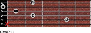 C#m7/11 for guitar on frets x, 4, 2, 1, 0, 2
