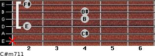C#m7/11 for guitar on frets x, 4, 2, 4, 4, 2