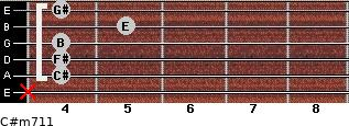 C#m7/11 for guitar on frets x, 4, 4, 4, 5, 4
