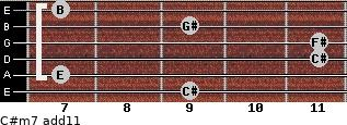 C#m7(add11) for guitar on frets 9, 7, 11, 11, 9, 7